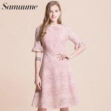 ea057f1a3ada7a Samuume Elegante Hollow Lace Jurk Vrouwen Half Mouw Hoge Taille Vintage Een  Lijn Midi Party Dresss Roze Zomer Jurk S1712325