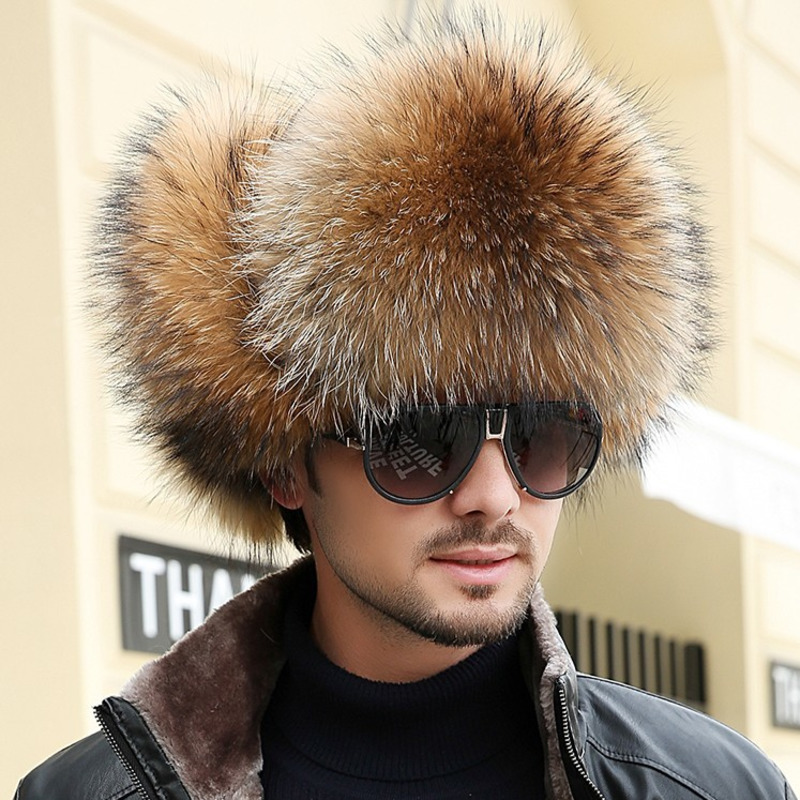 Hat Bomber-Hats Raccoon-Fur Fox Winter Warm-Caps Men Ear-Protectors Thickening Hot-Sale
