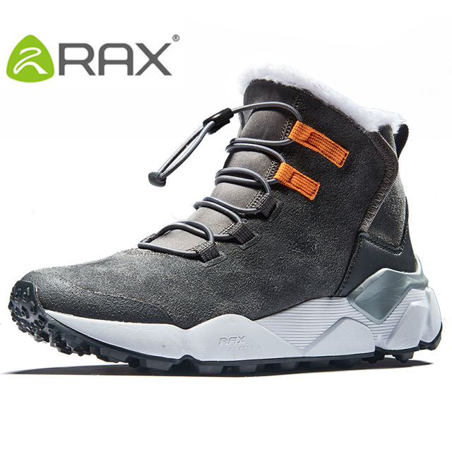 RAX Professional Hiking Snow Boots Outdoor Sports Sneakers for Men Leather Mountain Shoes Warm Fur Lining Outdoor Tourism Boots