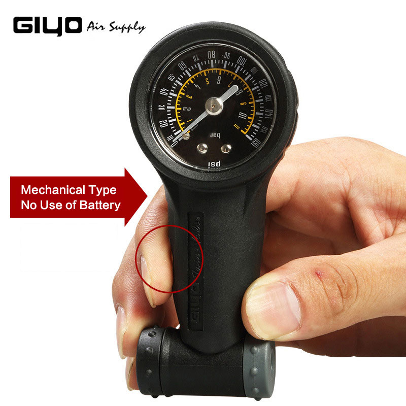 Giyo 160 PSI Bicycle Tire Air Pressure Gauge Mini Mountain Road Bike Air Tire Meter Measurement  For Presta Valve/Schrader Valve
