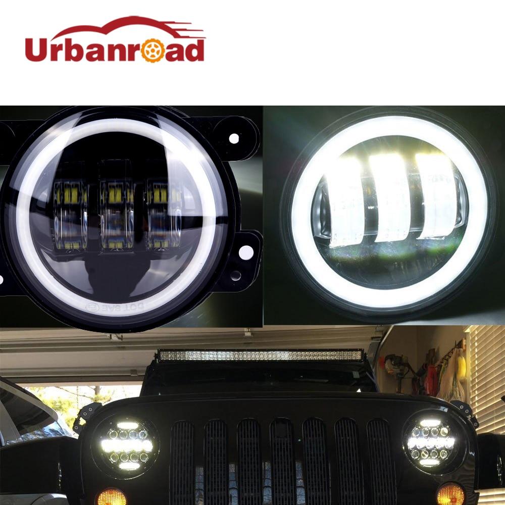 Дюймов 4 светодио дный дюймов круглые светодиодные противотуманные фары 30 Вт объектив проектора с Halo DRL лампы для бездорожья Jeep Wrangler Jk Dodge ...