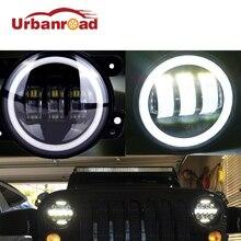 4 дюймов круглый светодиодный Туман свет фар 30 Вт объектив проектора с Halo DRL лампа для бездорожья Jeep Wrangler JK dodge Harley daymaker
