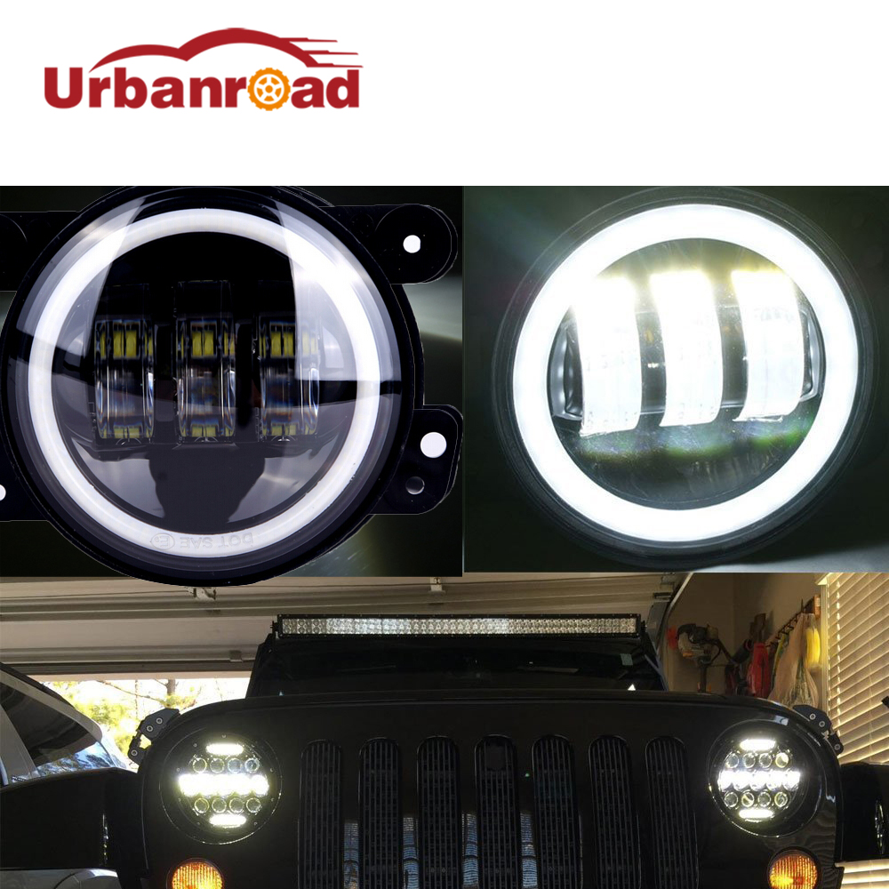 4 Inch Round <font><b>Led</b></font> Fog Light Headlight 30W Projector lens With Halo DRL Lamp For Offroad Jeep Wrangler Jk Dodge Harley Daymaker