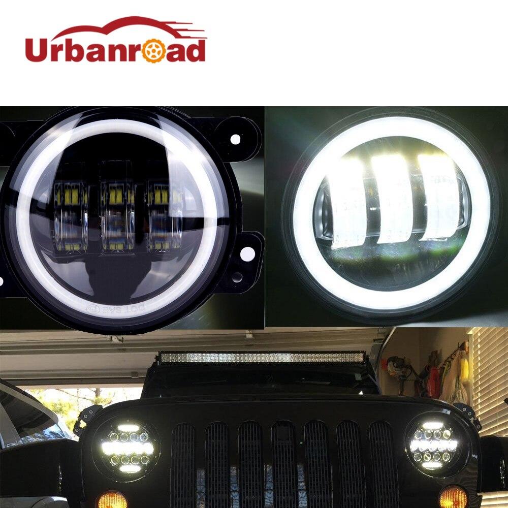 4 Pouce Ronde Led Brouillard Lumière Phare 30 W Projecteur lentille Avec Halo DRL Lampe Pour Offroad Jeep Wrangler Jk Dodge Harley Daymaker