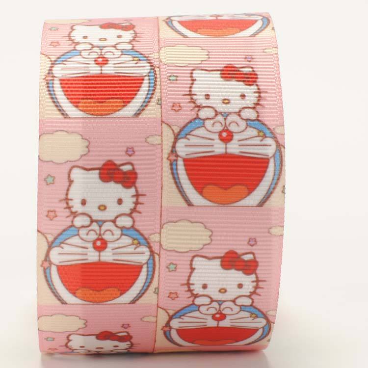 NEW 50 yards 7/8  22mm sweet doraemon with hello kitty pattern printed grosgrain cartoon ribbon hairbow DIY G0021