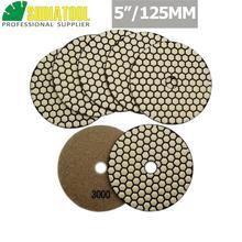 SHDIATOOL 7pcs 125MM/5 #3000 B Diamond Dry Polishing Pads Diameter Resin Bond Flexible Sanding Disc For Granite Marble Ceramic 7pcs 4inches 50 b dry diamond polishing pads diameter 100mm resin bond diamond flexible polishing pads