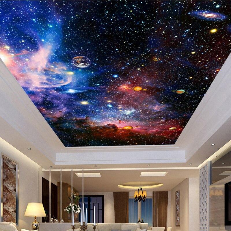 Plafond Mural Papier Peint Moderne 3d Cosmique Ciel étoilé Espace