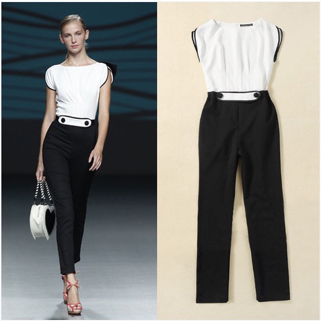 97163100124 High Street Women Playsuit Jumpsuits Black And White Patchwork Ladies  Rompers Plus Size Runway Jumpsuit Lady Formal Overalls XL on Aliexpress.com
