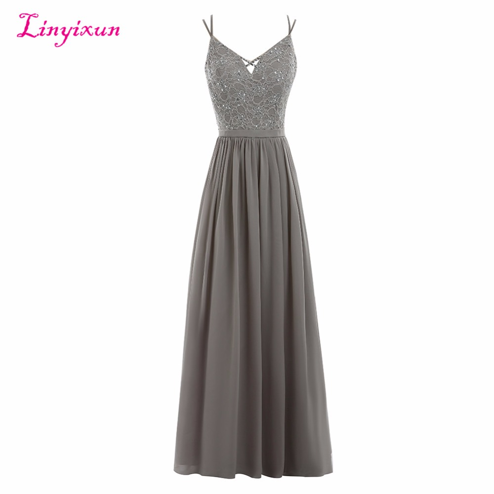 Linyixun Real Photo New A line Prom Dresses 2017 Lace Beaded Grey Chiffon Vestidos De Festa Spaghetti Straps Long Evening Dress