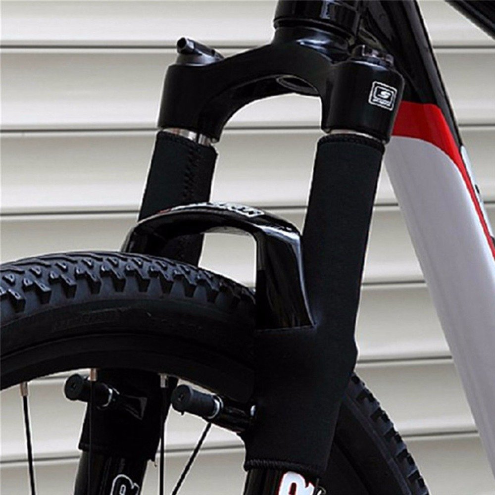 2PCS=1Pair Black Bicycle Frame Chain Protector Cycling Mountain Bike Stay Front Fork Protection Guard Protective Pad Wrap Cover