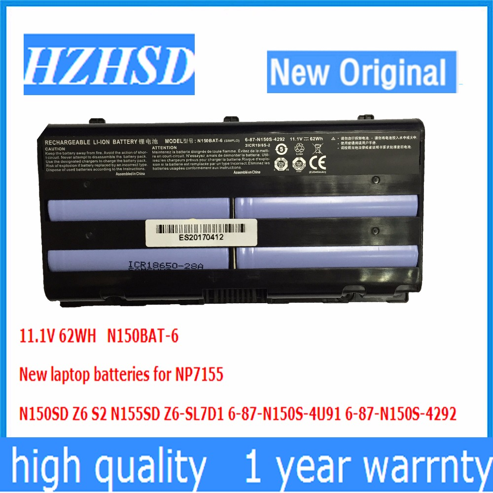 11.1v 62wh New Original N150BAT-6 Laptop Battery For Clevo N150BAT-6 N170SD N150SD N151SD N155S 6-87-N150S-4292