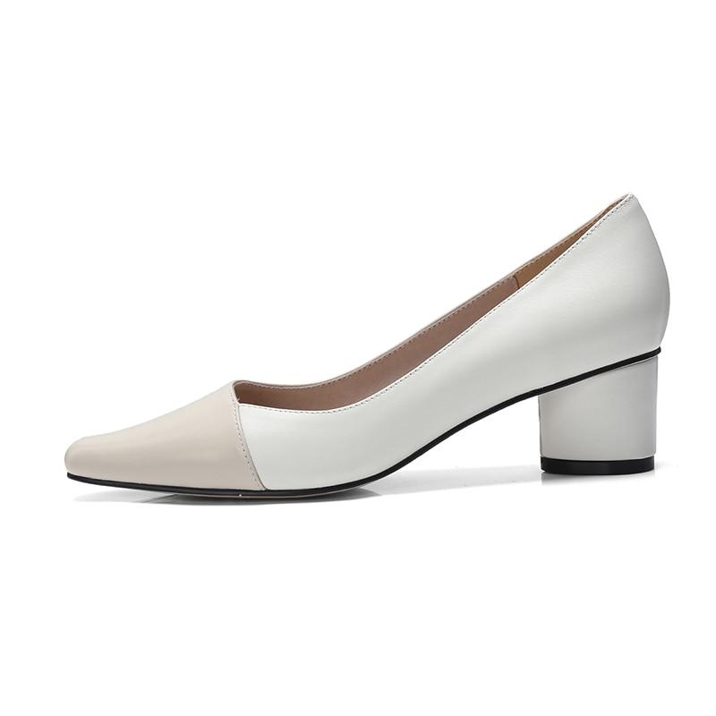 Chaussures 2019 Peu Profonde Épais Pink beige Stitchimg Véritable Nouveau Femmes Mode Carré Bout Pompes Talons Cuir En Isnom Printemps 0Ap8Sx