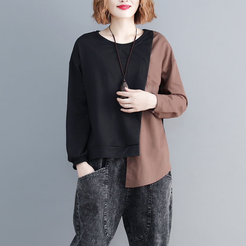 SHENGPALAE 2019 New Spring Casual Patchwork Long Sleeve Round Collar Irregular Hem Women Loose Big Szie Fashion T-shirt FL225 11