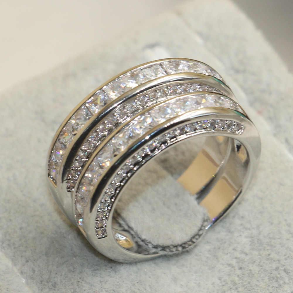 Choucong Wieck เจ้าหญิงตัดเครื่องประดับ 925 เงินสเตอร์ลิงสีขาวใส 5A หิน CZ แต่งงานเจ้าสาวของขวัญแหวนผู้หญิงขนาด 5-11