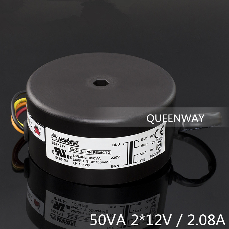 T-019 Double 12V 50W 2.08A NEW NORATEL Sealing Toroidal Transformer Primary Rated Voltage 0-230V 50/60Hz noratel toroidal seal tokon transformer double 30w 18v 30va