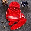 2016 outono da menina do menino crianças peças de roupas Conjunto Terno Do Bebê da criança das Crianças roupa dos miúdos do bebê do algodão sportswear livre grátis