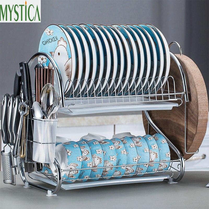 S образная 2 слоя железная тарелка стойка посуда полка для хранения кухонная тарелка столовые приборы чашка чаша лоток столовые приборы Органайзер аксессуары