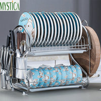 S Shaped 2 Layers Iron Dish Rack Tableware Storage Shelf Kitchen Plate Cutlery Cup Bowl Tray Cutlery Organize Rack Accessories