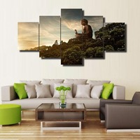New Hot Sell 5 Pcs HD Printed Buddha Painting Cuadros Landscape Canvas Wall Art Home Decor