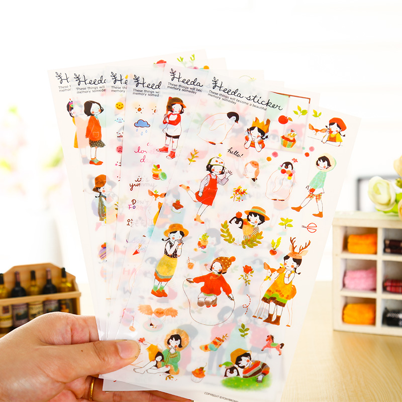 6 Pcs/lot Cute Girl Paper Sticker DIY Scrapbooking Diary Album Sticker Post Stationery School Supplies