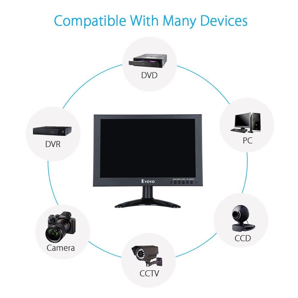 Eyoyo 10 Full HD 1920x1200 IPS Touch Screen LED Monitor With VGA AV Video Input 450cd/m2 Black For PC Laptop DVR DVD Camera