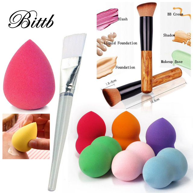 Bittb Makeup Set Cosmetic Foundation Facial Soft Sponge Puff Wooden Make Up Brush Powder Craeam Brushes Beauty Tools Kit Beauty & Health