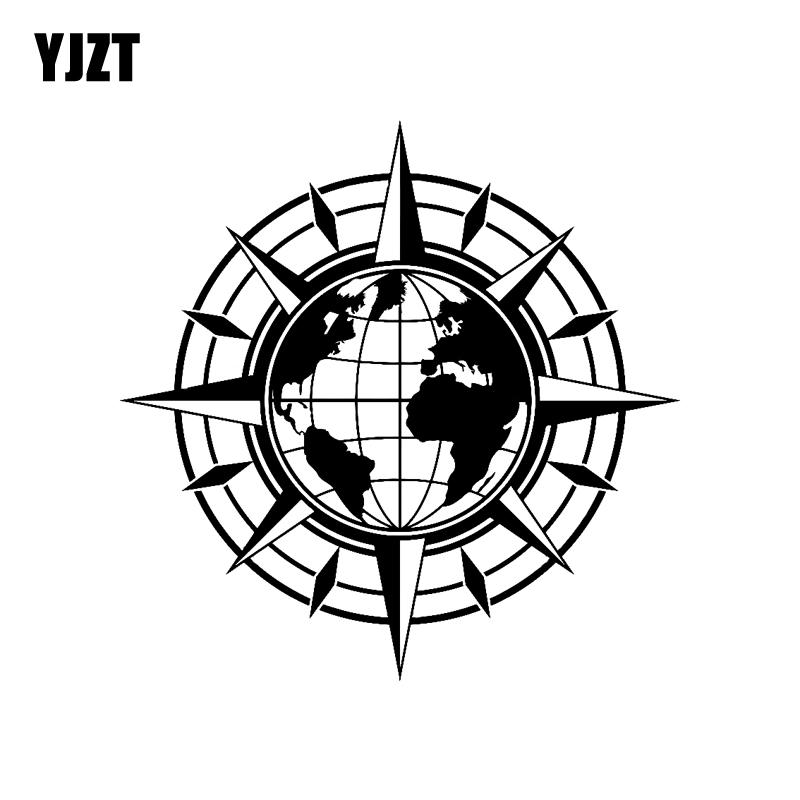 YJZT 18.5CM*18.5CM Vinyl Wall Decal Map Of World Compass Travel Globe Earth Car Stickers Black Silver C10-01169
