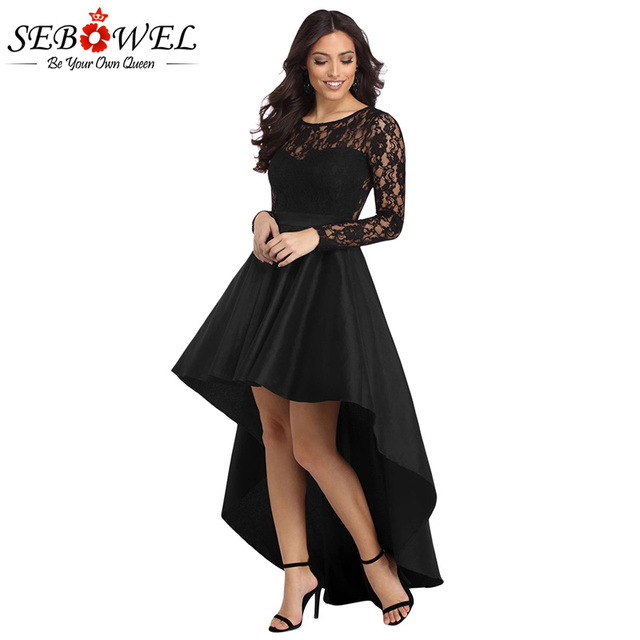 841e1657fa0 SEBOWEL Sexy Black Lace Maxi Party Dress Women Long Sleeve Evening Formal  Dress Autumn Long High Low Pleated Dress Prom Gown