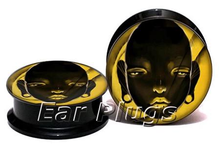 Wholesale head painting plug gauges acrylic screw ear plug flesh tunnel piercing body jewelry ASP0776