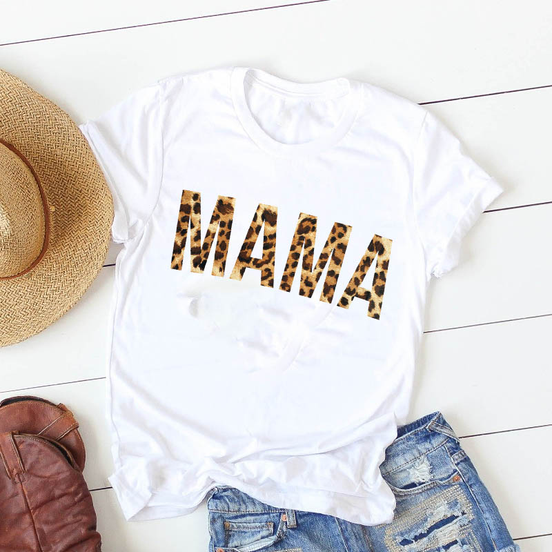 Painting T Shirt Summer Women Leopard Letters Mama Female Mother Women Casual Cute Tshirt Camisa Mujer Top Graphic Tees T-shirt