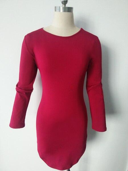 Plus Size Women Clothing 2019 Long Sleeve Mini Bodycon Tunic Slim Party Sexy Clubwear Side Split Tshirt Bandage Dresses M0462 5
