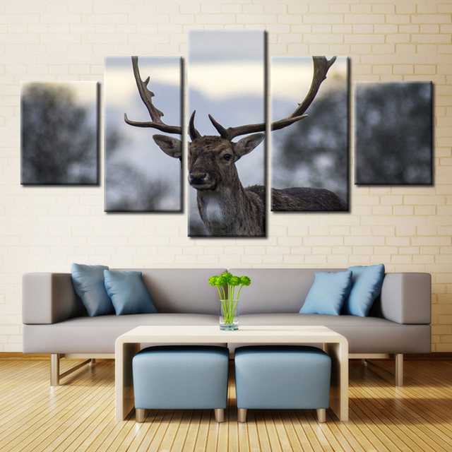 Us 6 96 49 Off 5 Pieces Cervidae Deer Antlers Posters Wall Art Picture Home Decoration Living Room Canvas Print Printing On In