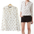 Women's Dog Printed Chiffon V-neck Blouse Long Sleeve Leisure Button Shirt Blouse Tops