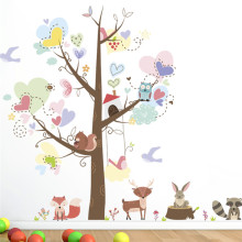 cartoon forest monkey squirrel animals tree wall art stickers for living room nursery decor posters diy decals gift