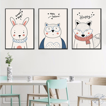 Nordic Cute Animal rabbit goat Bear Decorative Painting Children Room Decoration Picture Nursery Wall Art Poster and Print