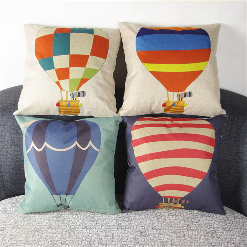 Cartoon hot air balloon printing Sofa club coffee shop Home for children room chair Cushion Cover Decoration Pillow Case gift
