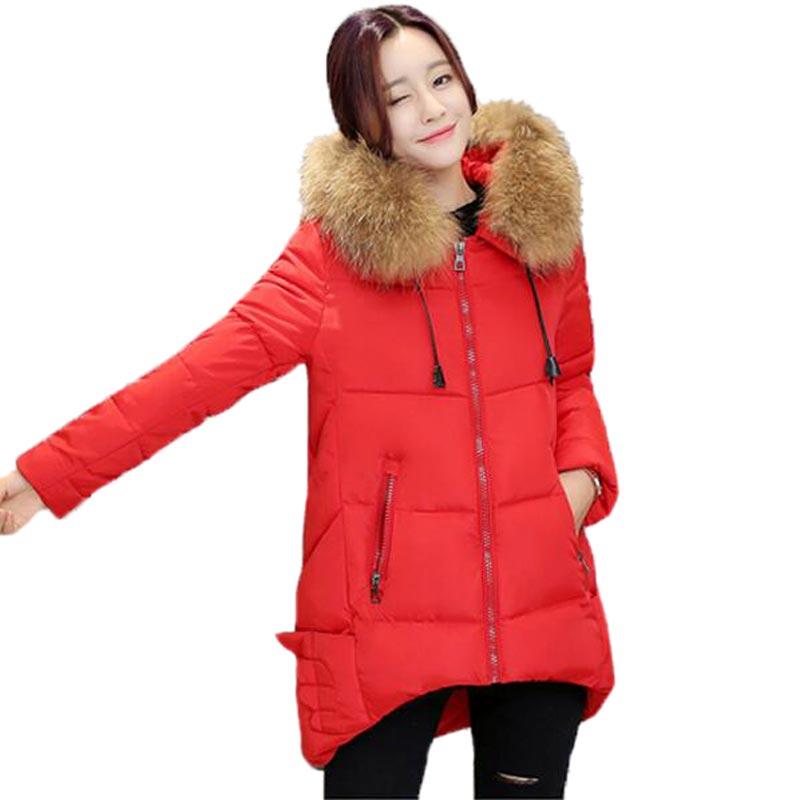 ФОТО 2017 Women Padded Winter Jacket Fur Collar Hooded Cotton Coat Loose Medium Long Outerwear Coats Irregular Hem PW0665