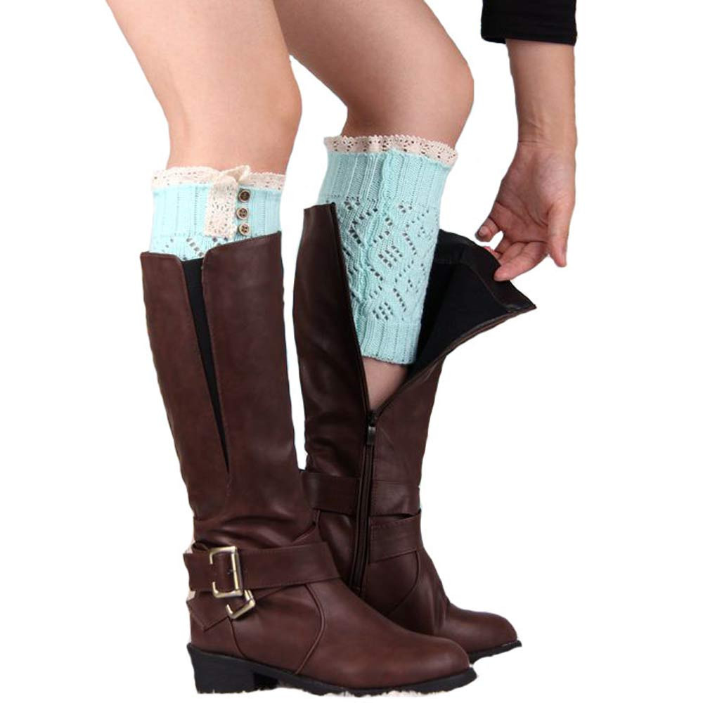 2017 FASHION Women Lace Stretch Boot Leg Cuffs Boot Socks Y92130