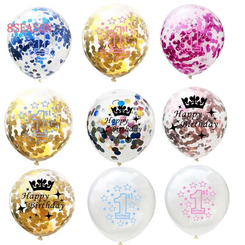 8 сезон один год День рождения воздушный шар мальчик конфетти номер баллон 1st с днем рождения девушка Декор Baby Shower День рождения поставки