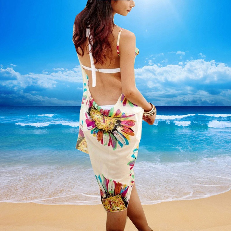 Women Beach Dress Swimwear Sexy Sling Beach Wear Dress Sarong Bikini Cover-ups Wrap Pareo Skirts Towel Flower Open-Back Swimsuit 7