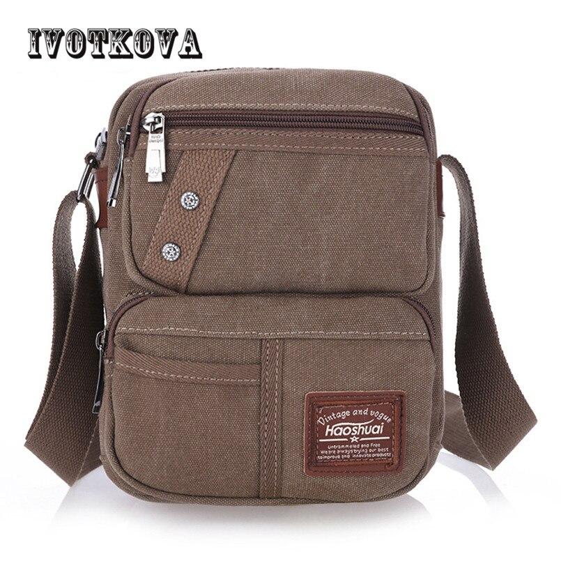 IVOTKOVA Famous Brand Design Canvas Men Bag Casual Business Canvas Mens Messenger Bag Vintage Men's Crossbody Bag bolsas male