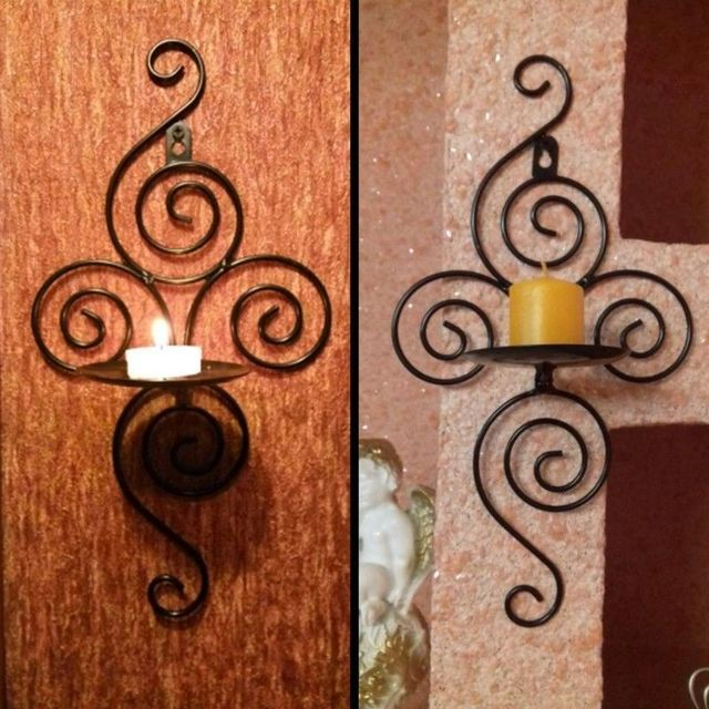 2Pcs/Lot Metal Candlestick Iron Pastoral Hanging Wall Sconce Candle ...