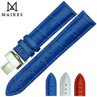 MAIKES Bule Genuine Leather Watch Band With Stainless Steel Folding Buckle 16mm 18mm 20mm Watch Strap