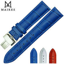 MAIKES Bule Genuine Leather Watch Band With Stainless Steel Folding Buckle 16mm 18mm 20mm Strap