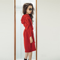 Fashion Teenage Girl Clothes Long Sleeve with Hooded Red Dress Black Dress 10 to 12 14 years Fall Winter Girls Dresses