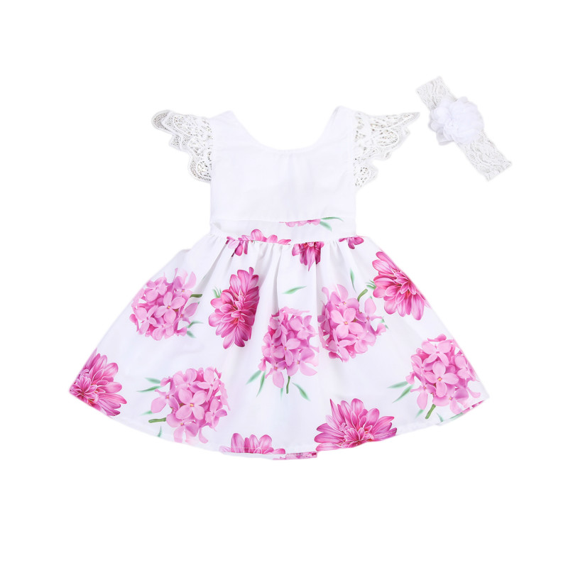 Toddler Kids Baby Girls Flower Lace Sleeveless Mini Dress Headband 2PCS Set Princess Tulle Backless Wedding Party Dresses 2-7Y lace chiffon flower headband vintage headband baby headband lace headband