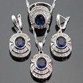 Azul Criado Sapphire Branco CZ Conjuntos de Jóias de Cor Prata Para As Mulheres de Natal Pingente/Colar/Brincos/Anéis Livre Caixa de presente
