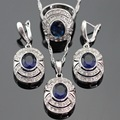 Blue Created Sapphire White CZ Silver Color Jewelry Sets For Women Christmas Pendant/Necklace/Earrings/Rings Free Gift Box