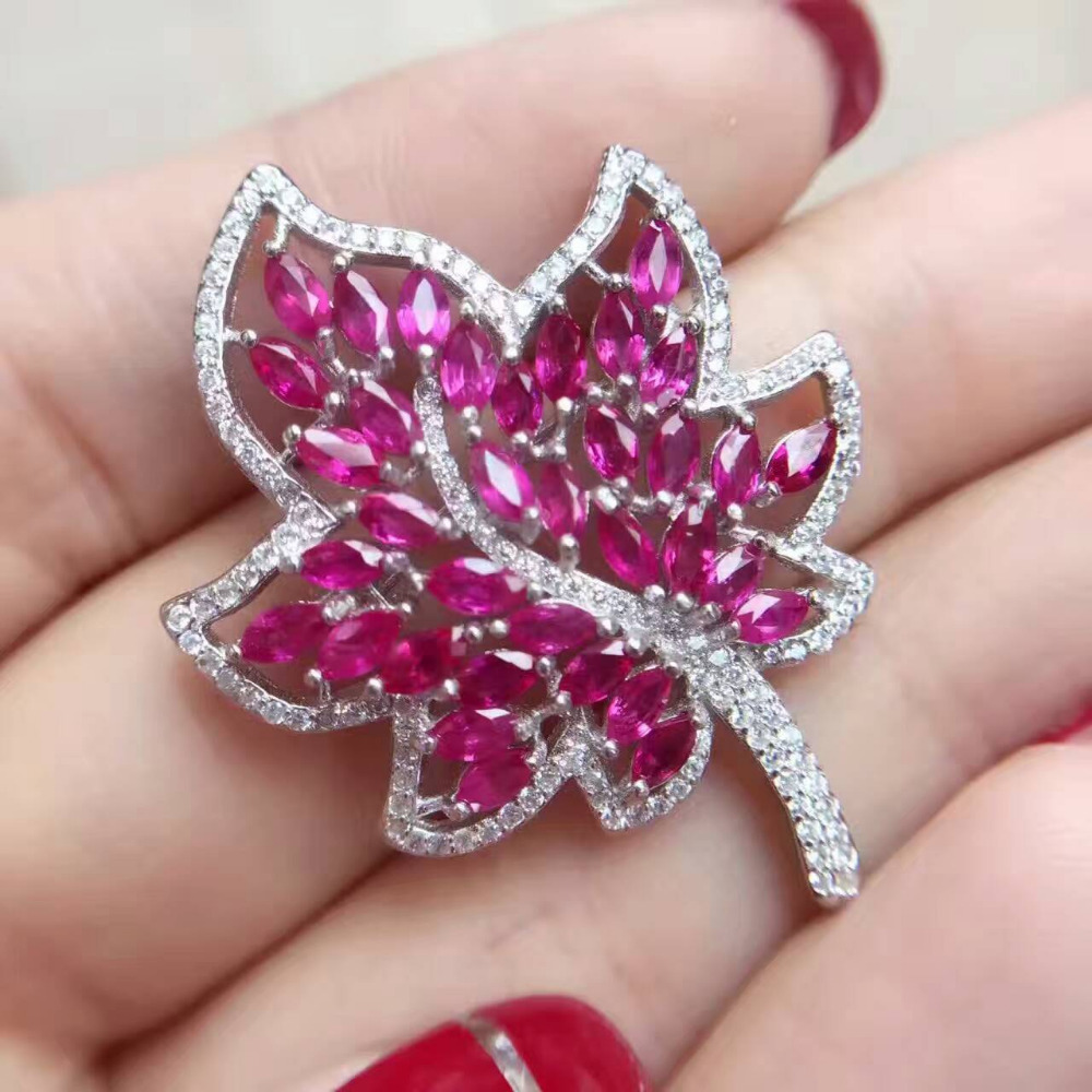 Natural red ruby gem brooch S925 silver Natural gemstone brooch Pendant luxurious Elegant fashion leaves women two wears jewelry elegant artificial gem oval rhinestone leaf floral brooch for women