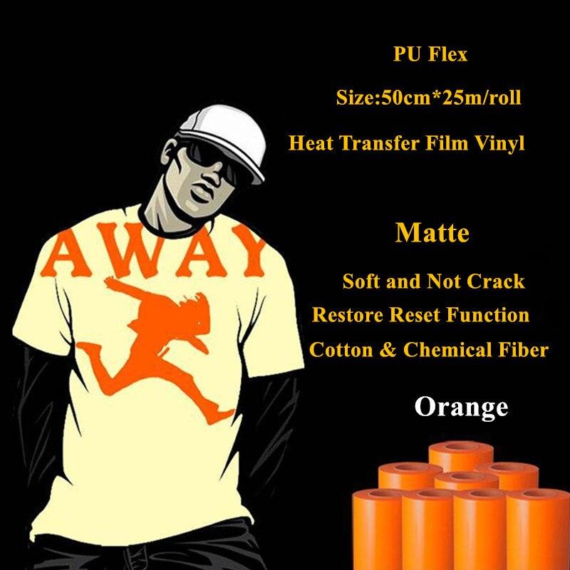 PU Flex Heat Transfer Vinyl For Cotton Orange Color Matte Heat Press Vinyl Plotter Heat Transfer Film 50cm*25m/roll Cold Peel